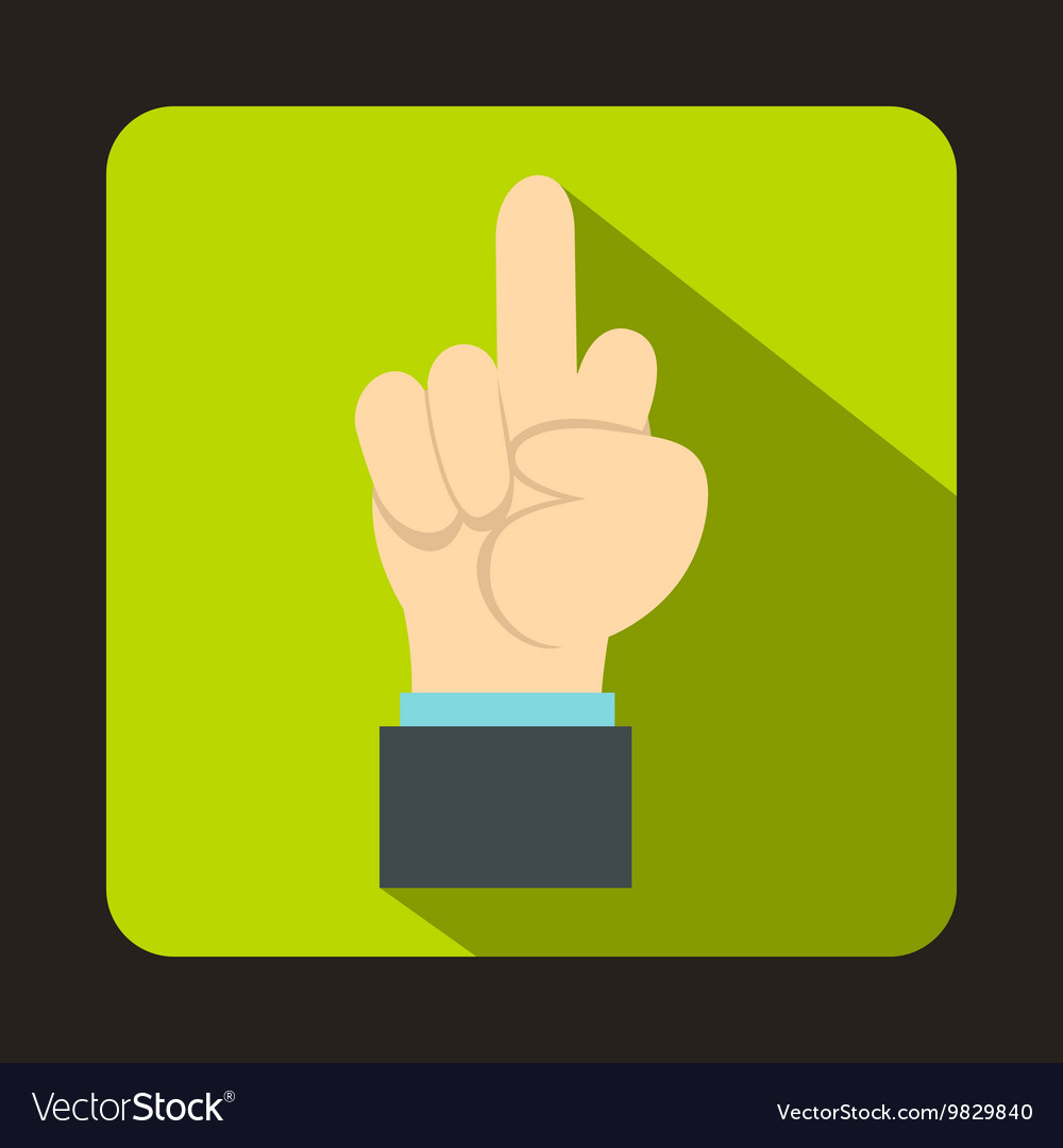 Middle finger hand sign icon flat style vector