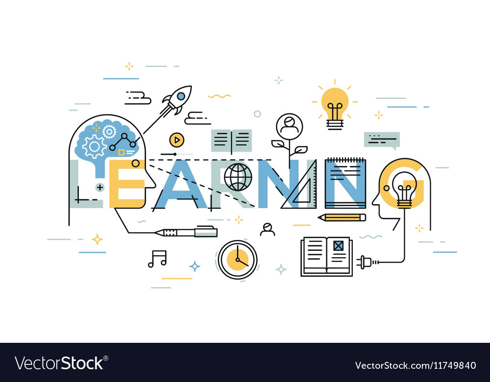 Thin line flat design banner of learning web page vector