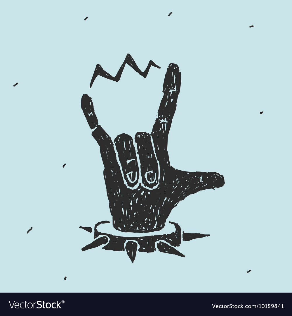 Hand symbol heavy metal vector