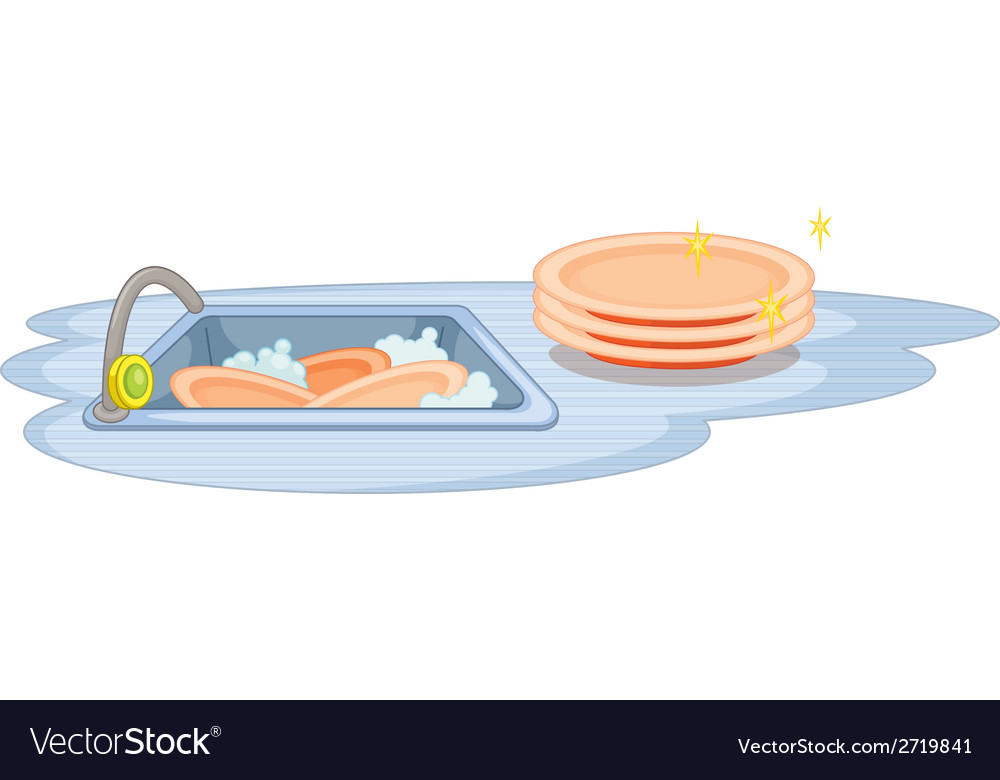 Sink and dish vector