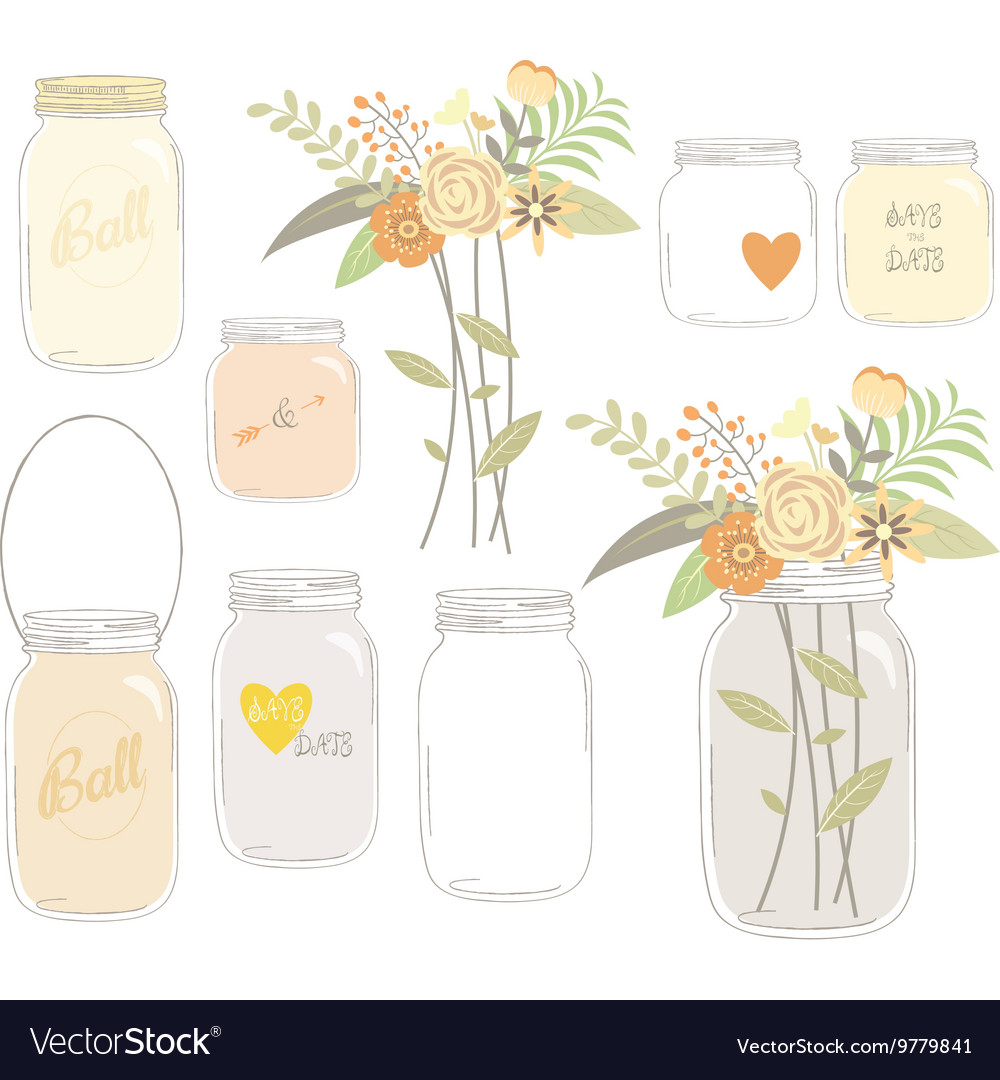 Vintage wedding flowers with mason jar vector