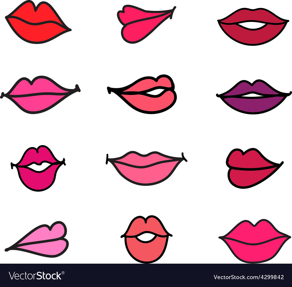 Set of cartoon feminine lips vector