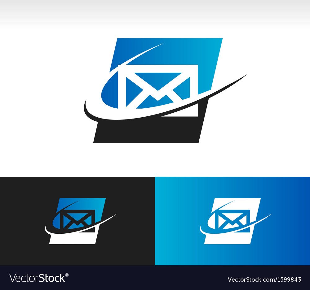 Envelope swoosh logo icon vector