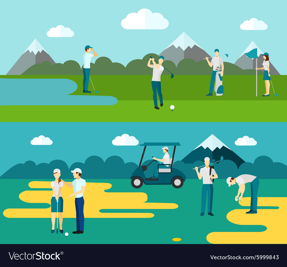 Golf course 2 flat banners composition vector