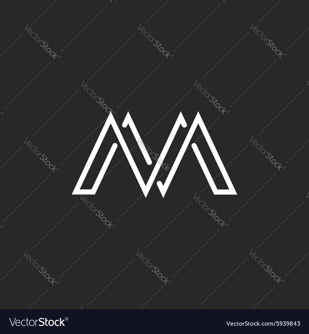 M monogram letter logo crossing thin line black vector