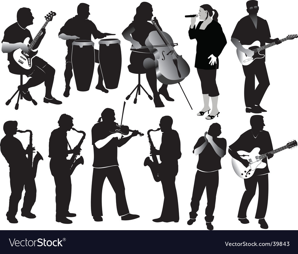 Music silhouettes vector