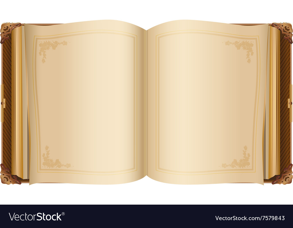 Retro open book with blank pages vector
