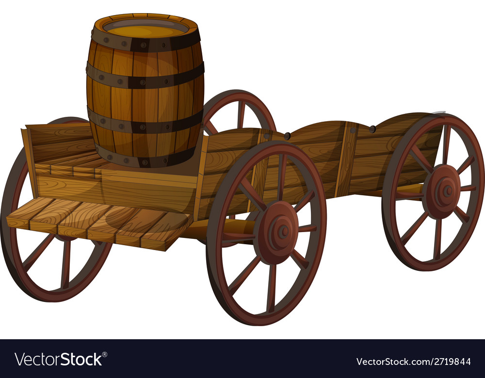 Barrel and wagon vector