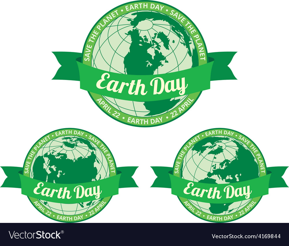Earth day badget  save the planet vector