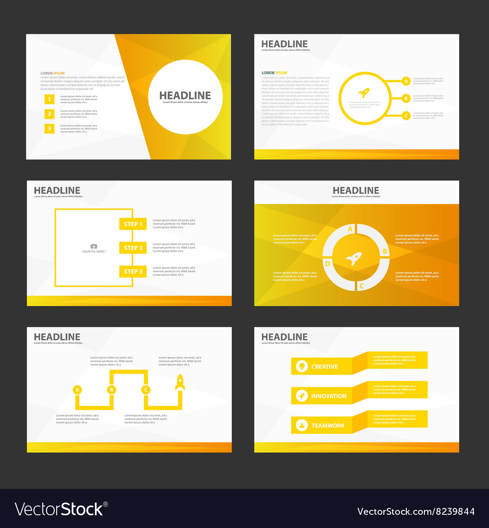 Gold presentation templates infographic elements vector
