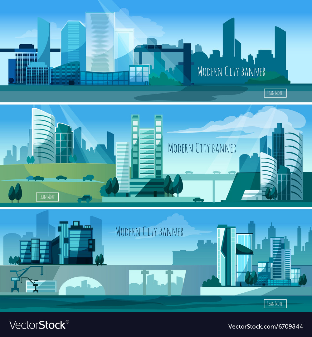 Modern cityscapes banners vector
