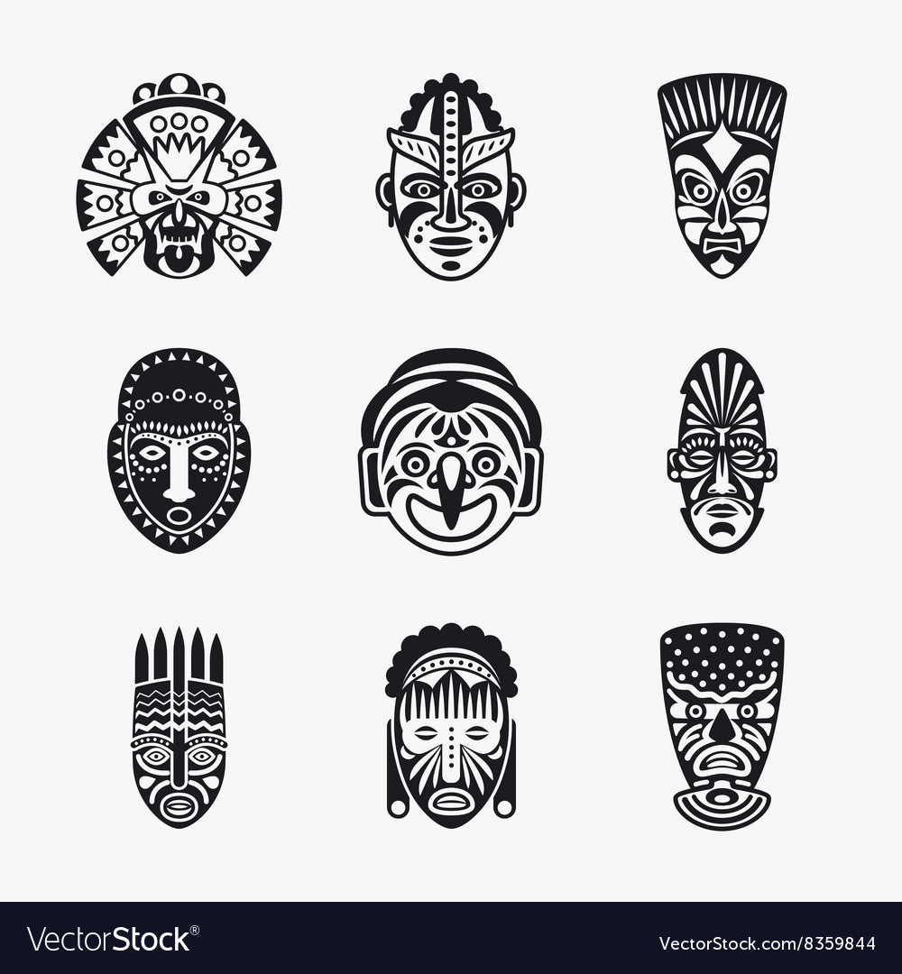 Tribal ethnic mask icons vector
