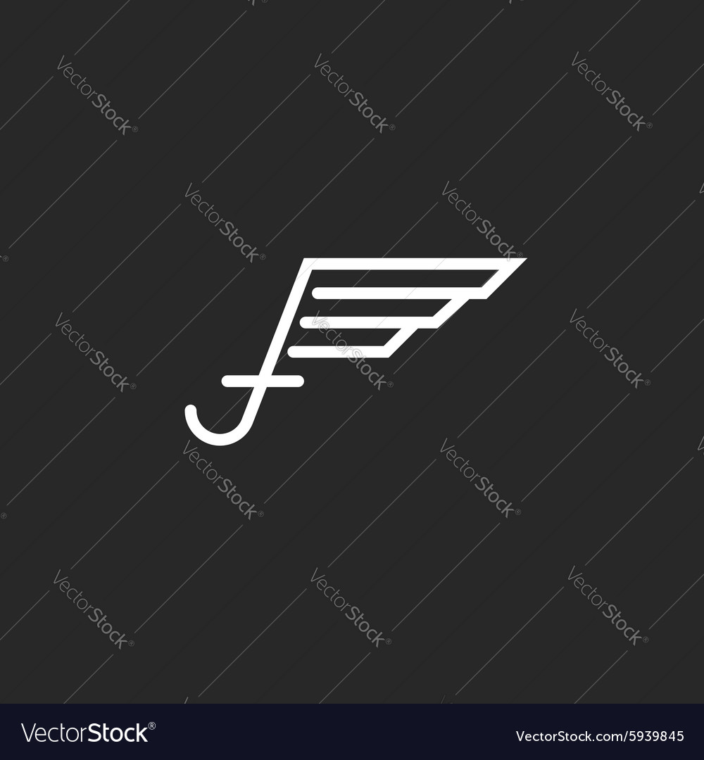 Uppercase letter f logo with wings monogram emblem vector