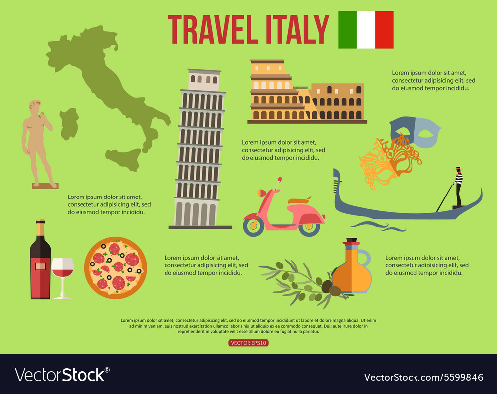 Italy travel background with place for text set vector