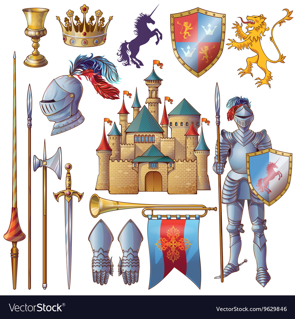 Knight decorative icons set vector
