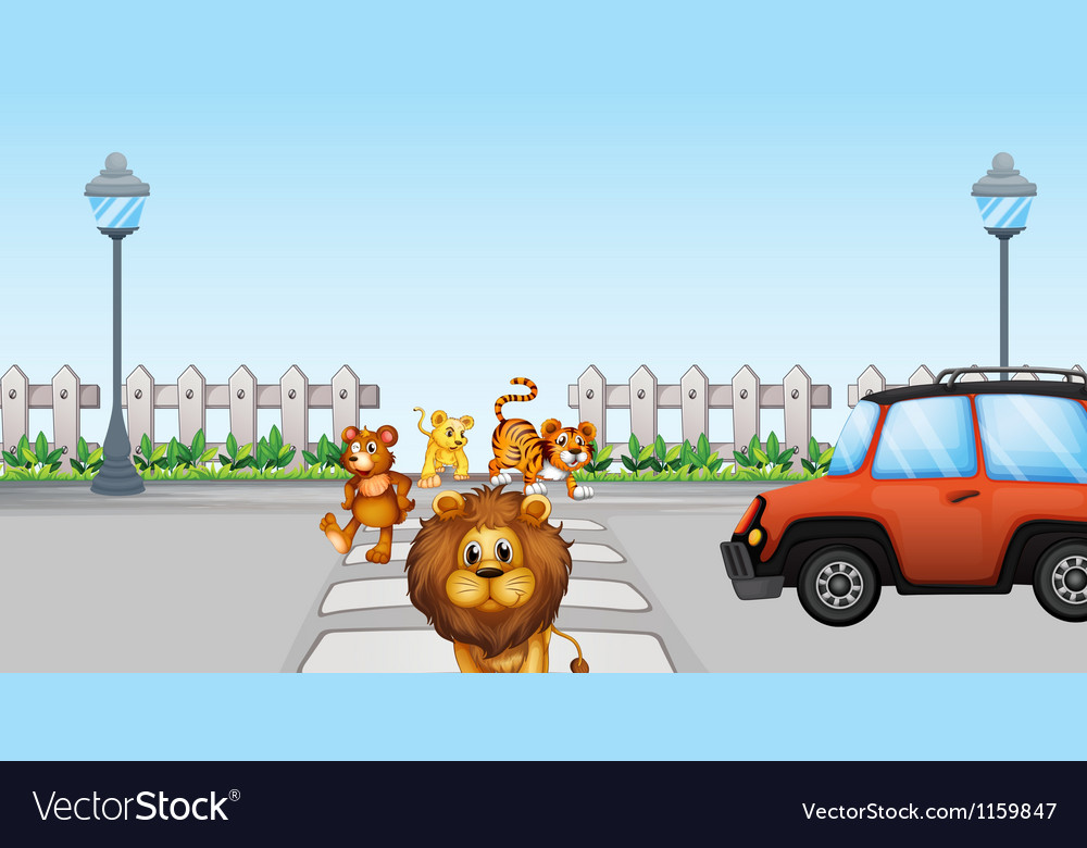 Wild animals crossing and a car in the road vector