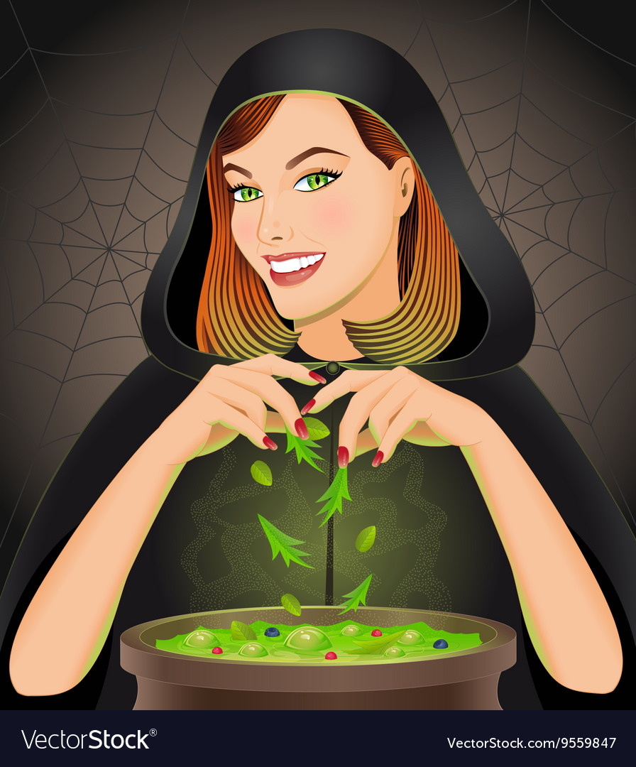 Witch brewing magic potion in cauldron vector