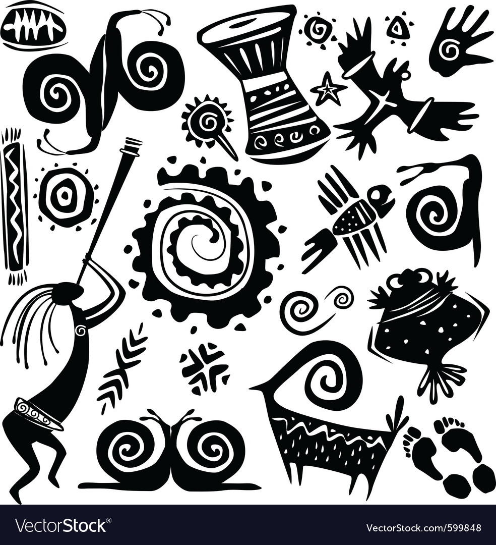 Elements for designing primitive art vector
