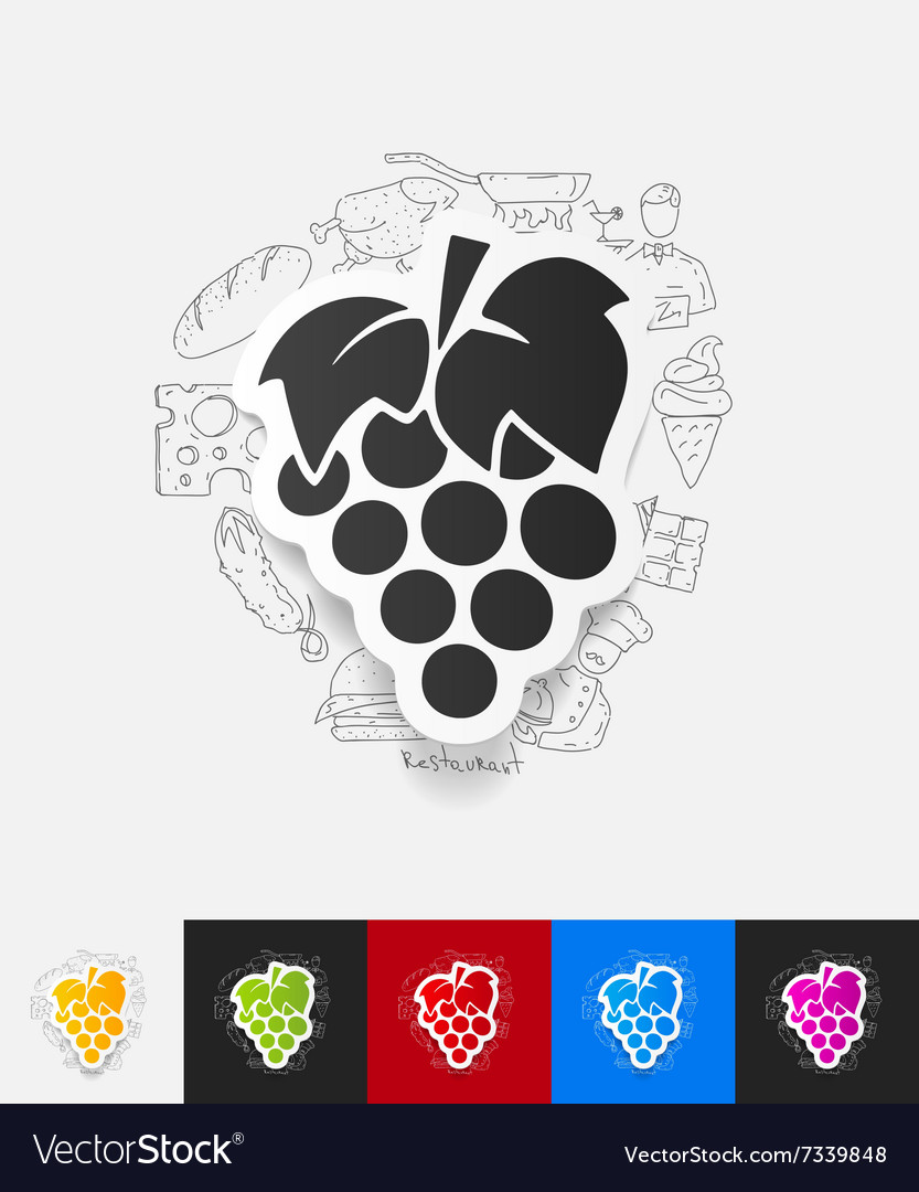 Grapes paper sticker with hand drawn elements vector