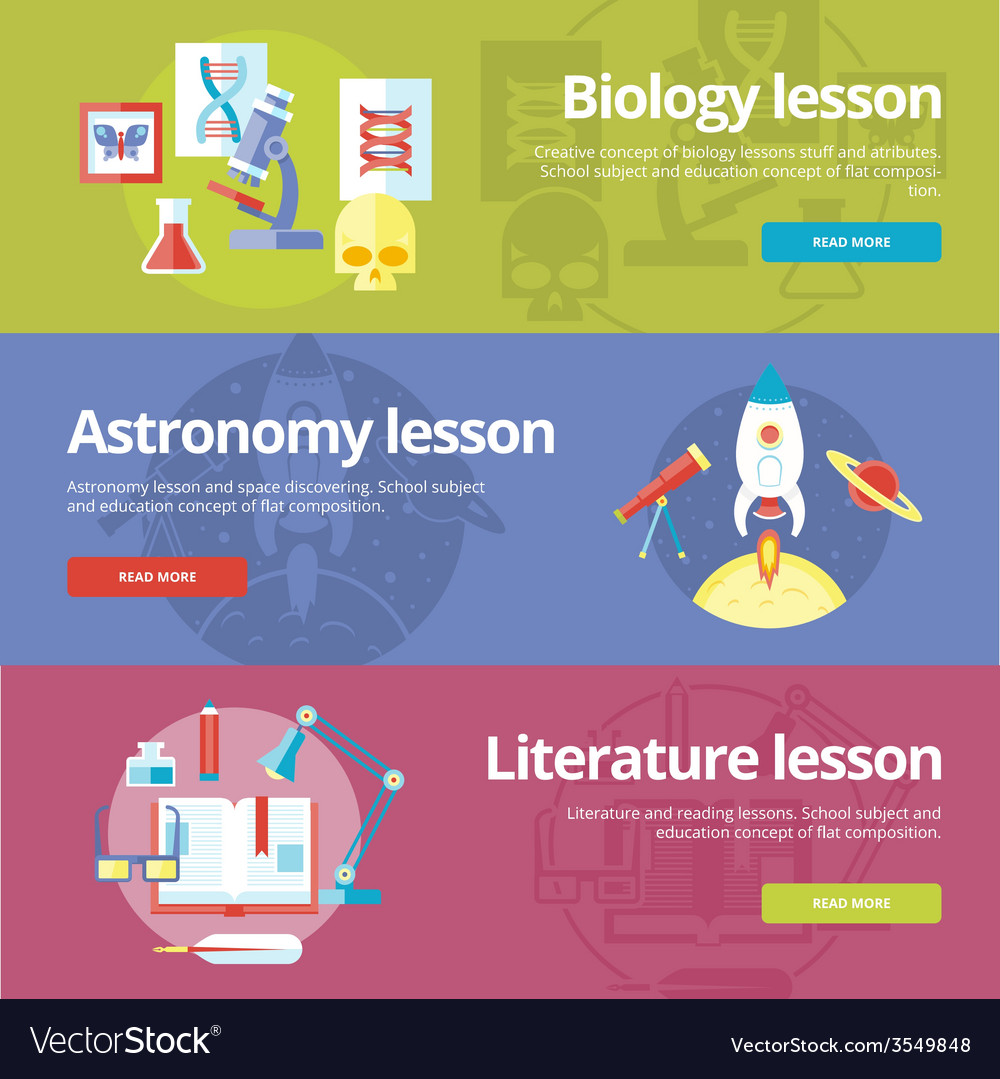 Set of flat design concepts for biology astronomy vector