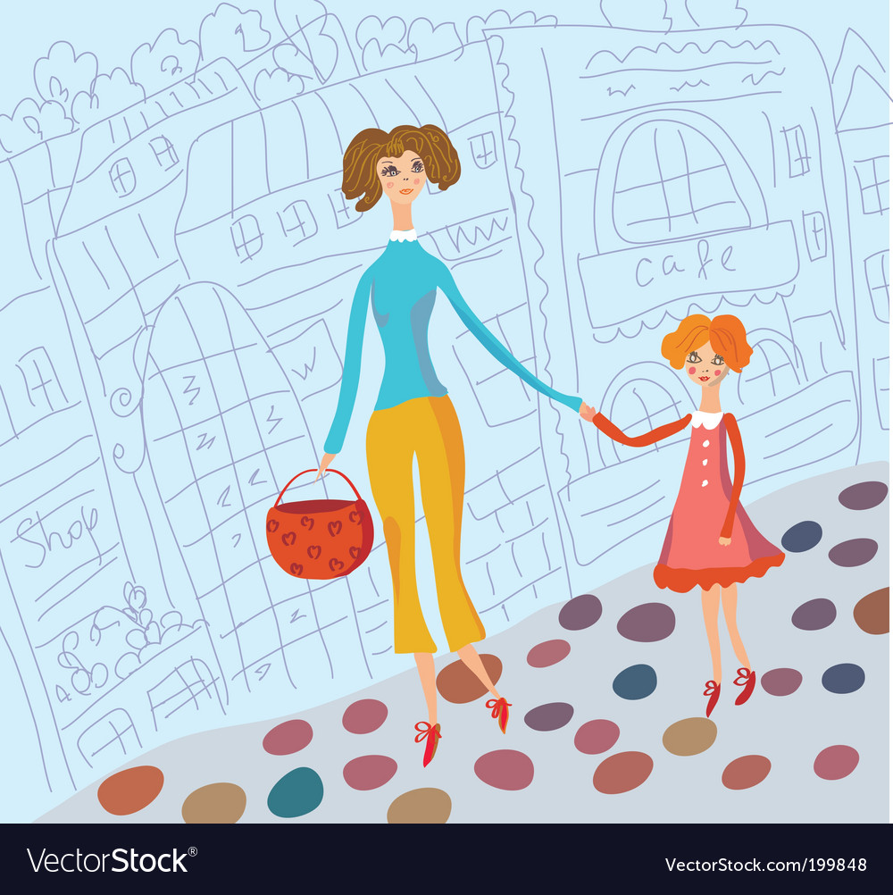 Young mother and daughter vector