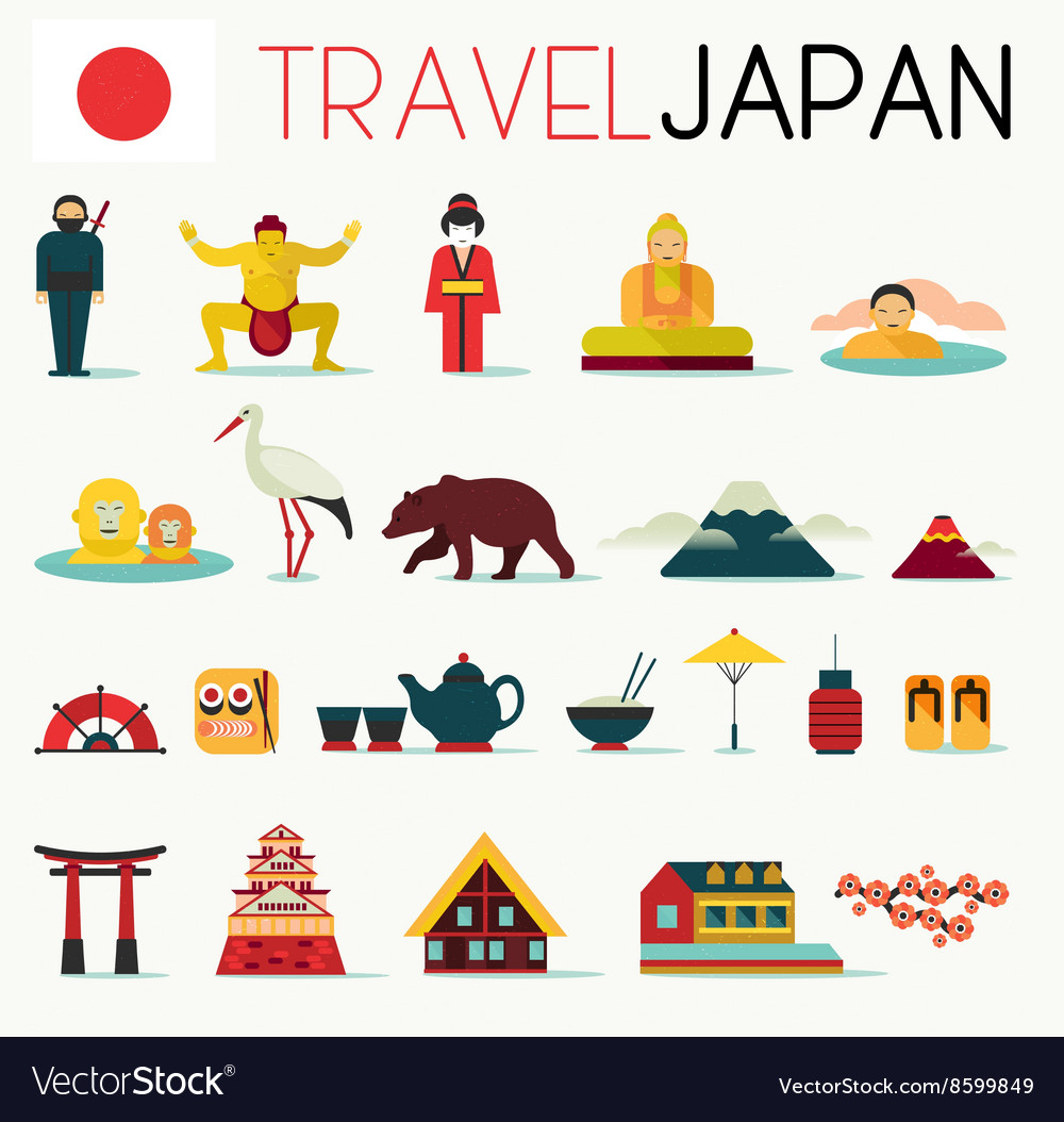 Travel japan icons vector