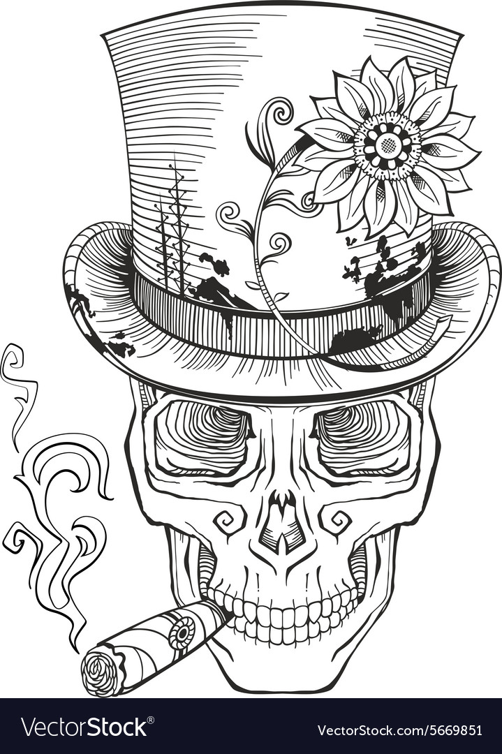 Cool looking skull in top hat smoking cigar vector