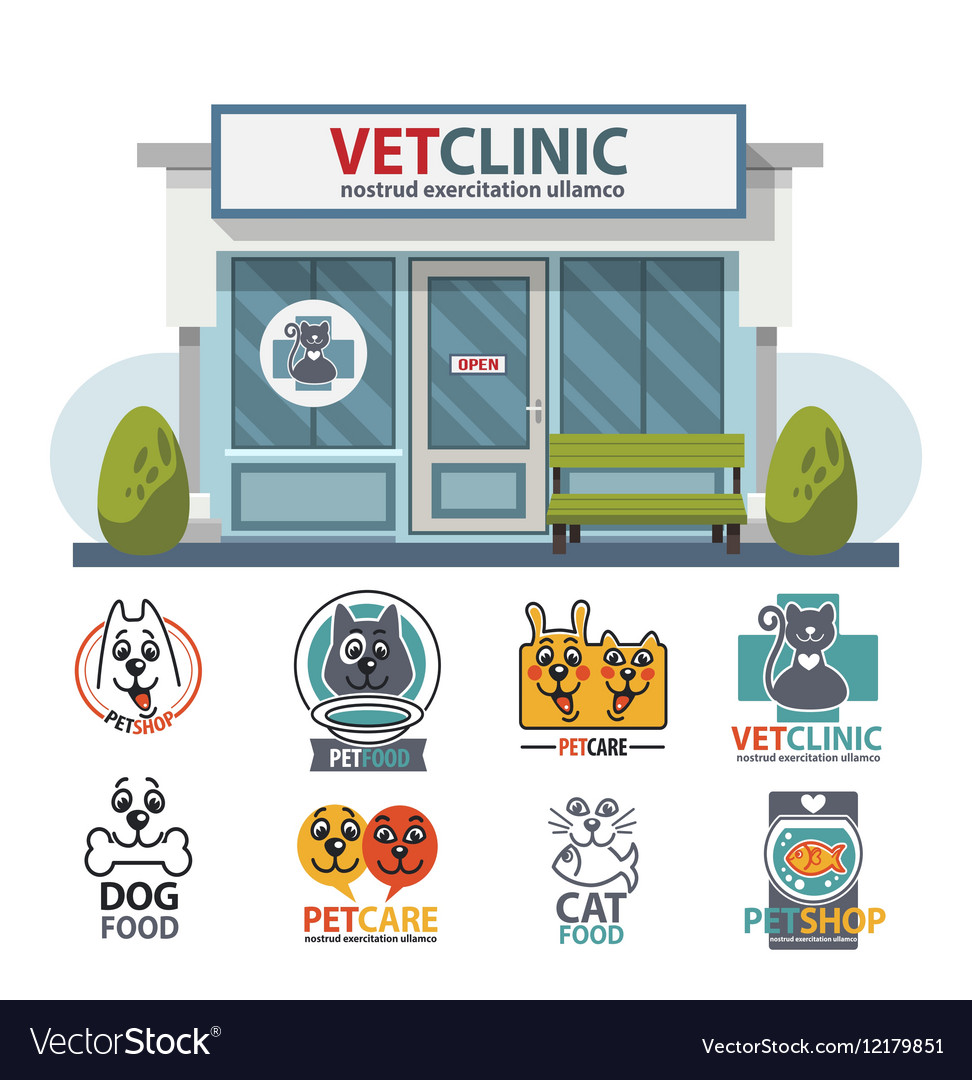 Veterinary medicine hospital clinic or pet shop vector