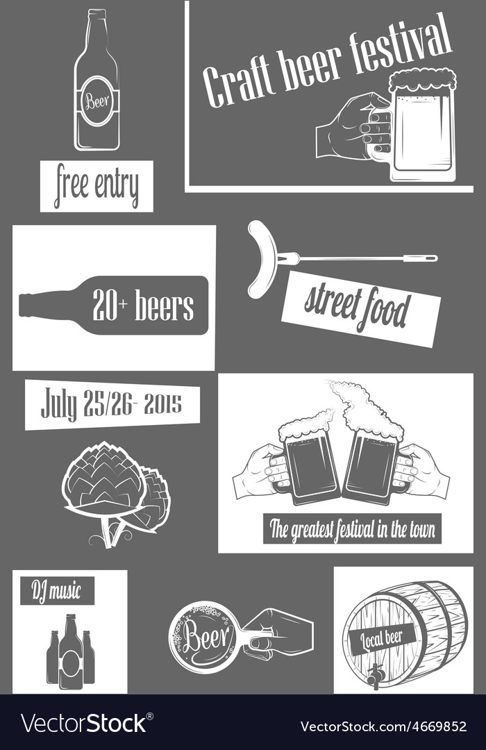 Beer craft fest twocolor vertical flyer vector