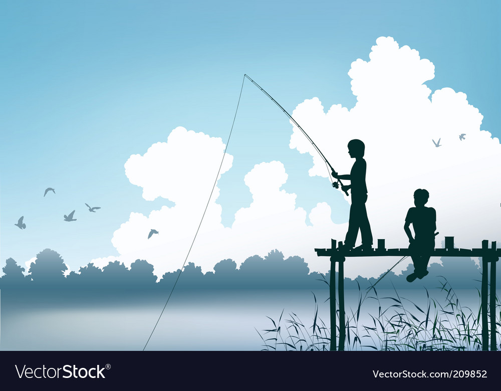 Fishing scene vector