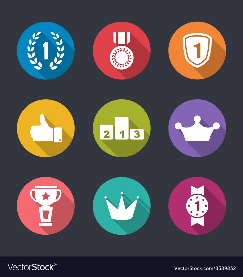 Flat icons collection of awards and trophy signs vector