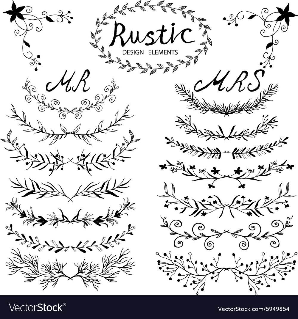 Design elements in rustic style vector
