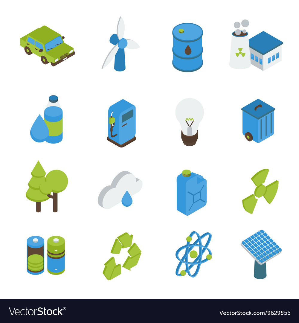Ecology isometric icons set vector