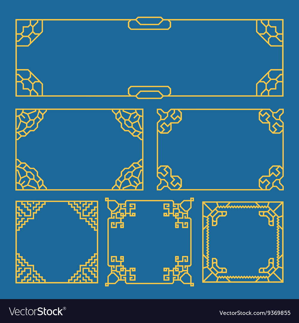 Korean chinese japanese vintage frames borders vector