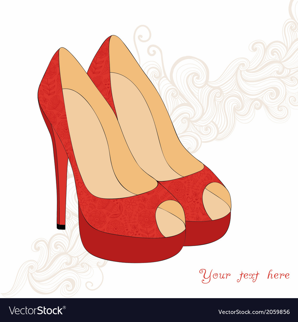 A highheeled vintage shoes with flowers fabric vector