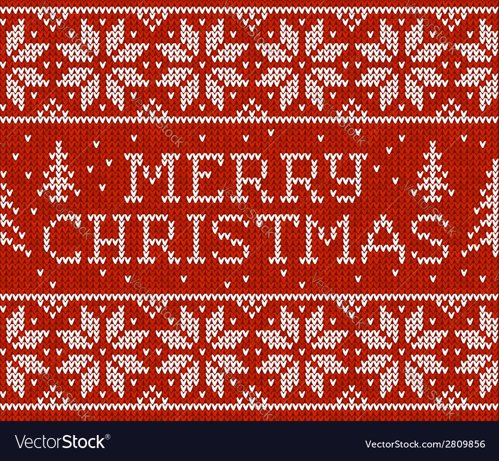 Red knitted seamless pattern with sign merry vector