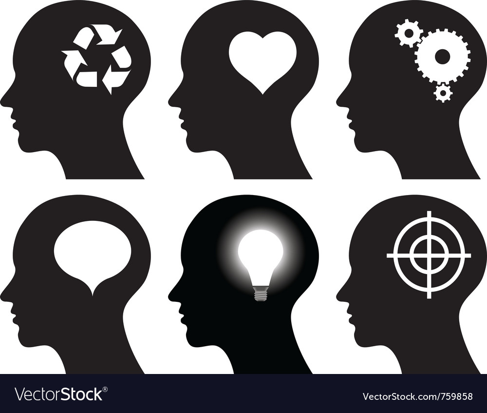 Black head profiles with idea symbols vector