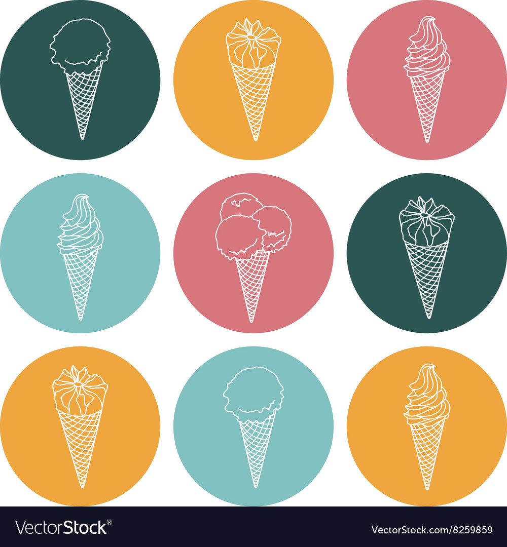 Icon silhouettes ice cream with signature vector