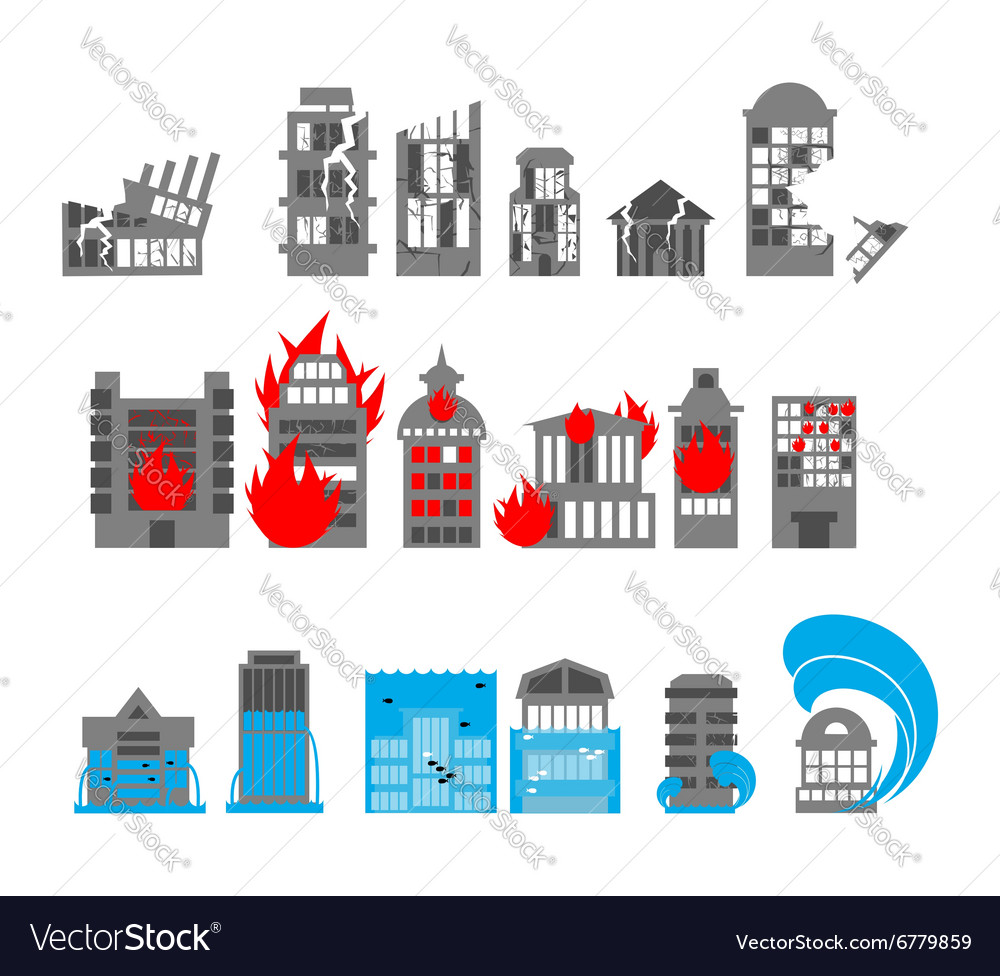 Set building disasters destruction flood and fire vector