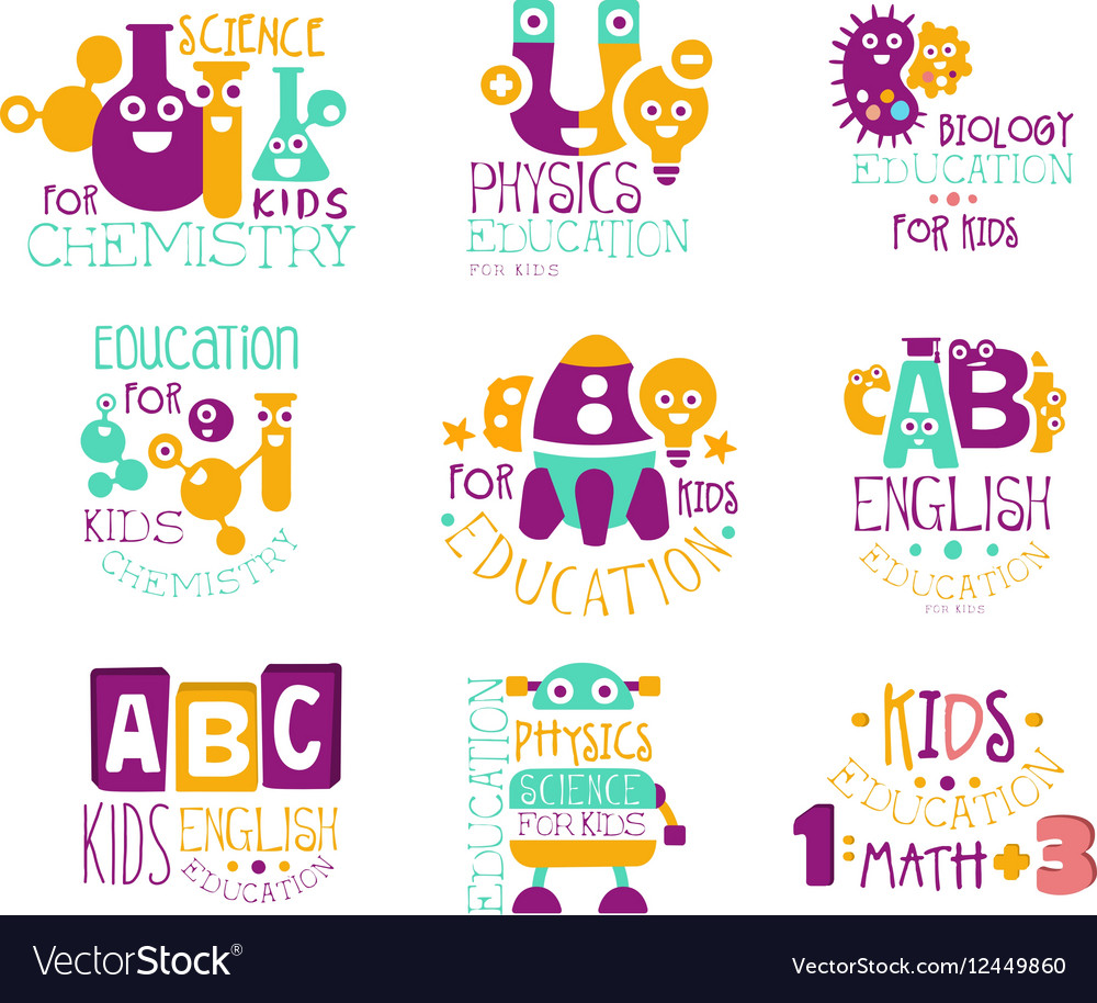 Kids science education extra curriculum club label vector