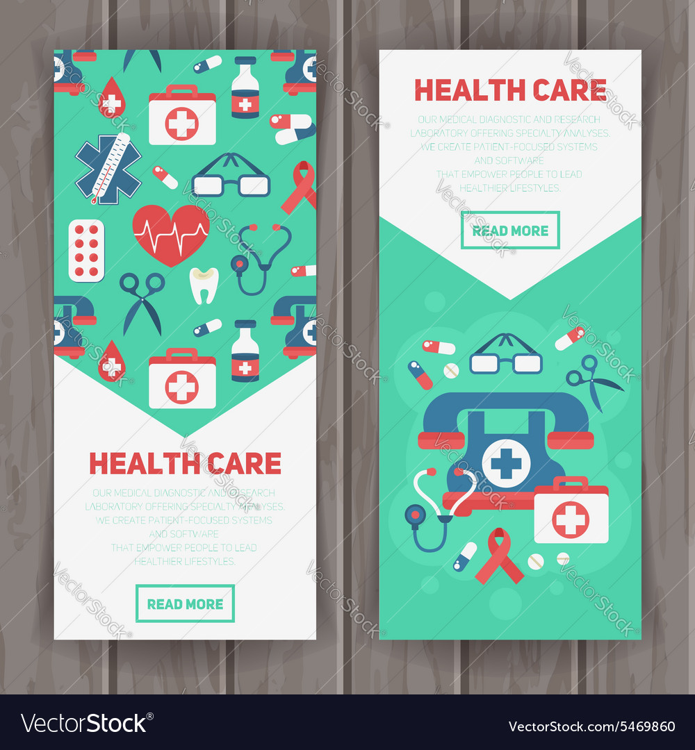 Medical banners templates in trendy flat style vector