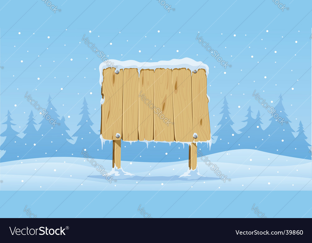 Wooden blank board in snow vector