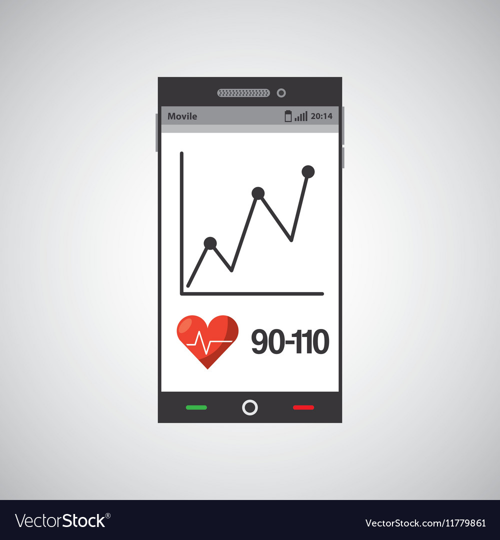 Cellphone health tool virtual app vector