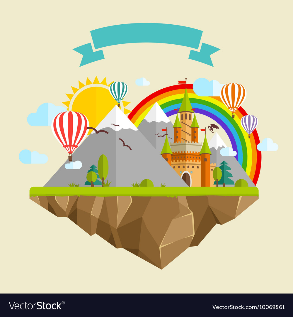 Flying island with fairy tale castle balloons vector