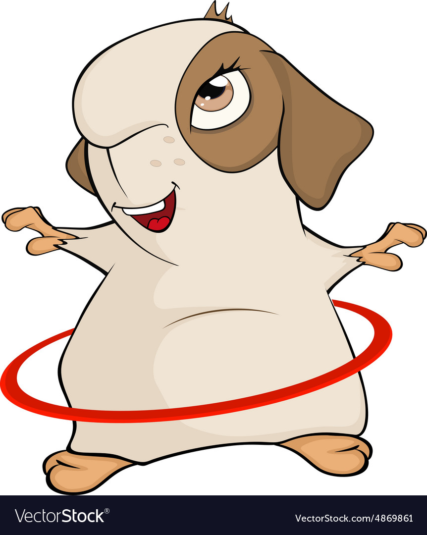 Funny brown guinea pig and a hula hoop cartoon vector