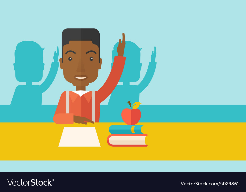 Young black student raising his hand vector