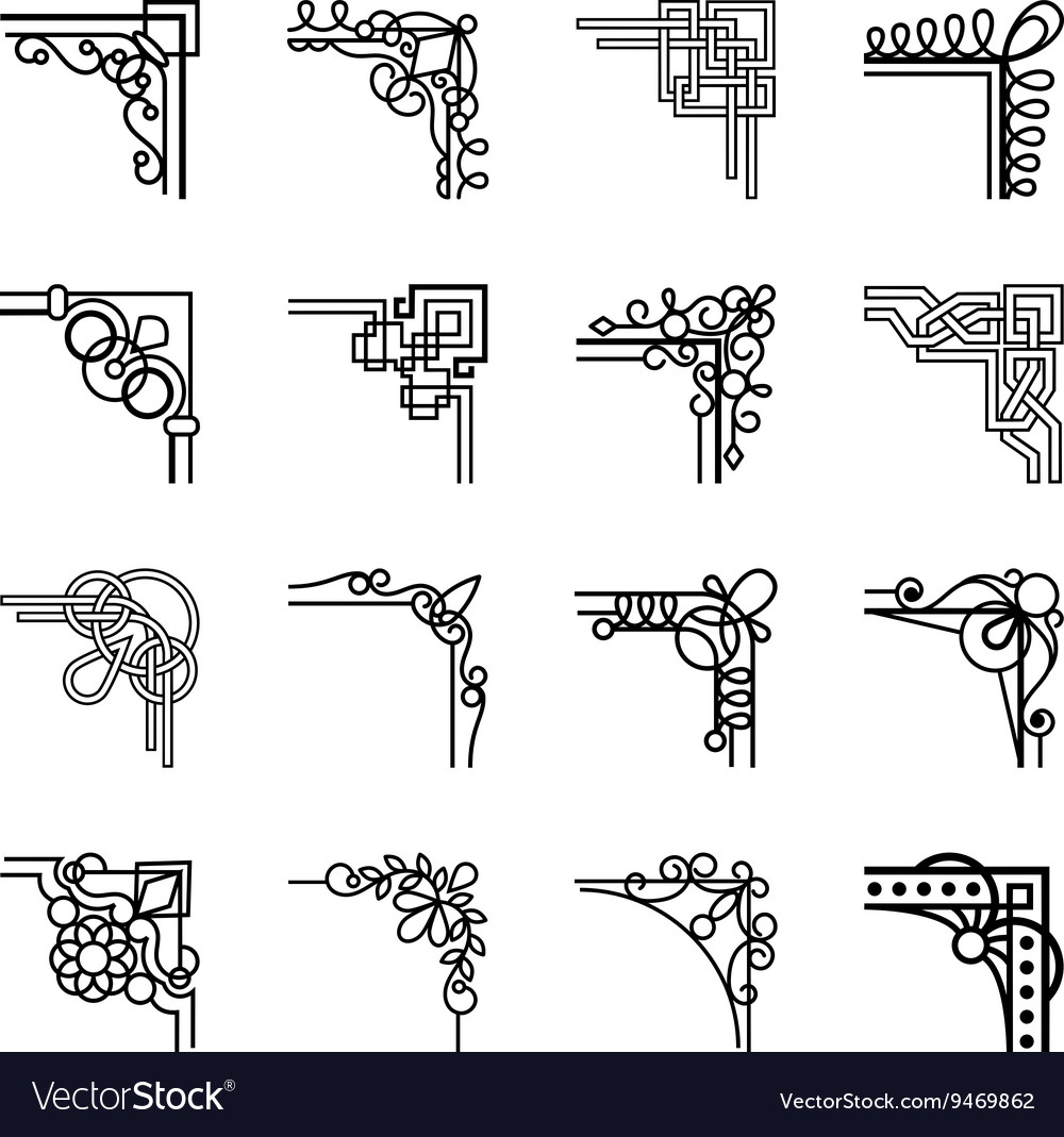 Calligraphic corners vector