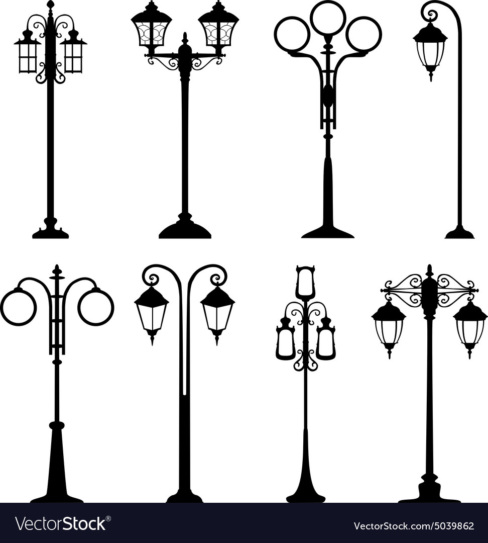 City street lanterns set vector