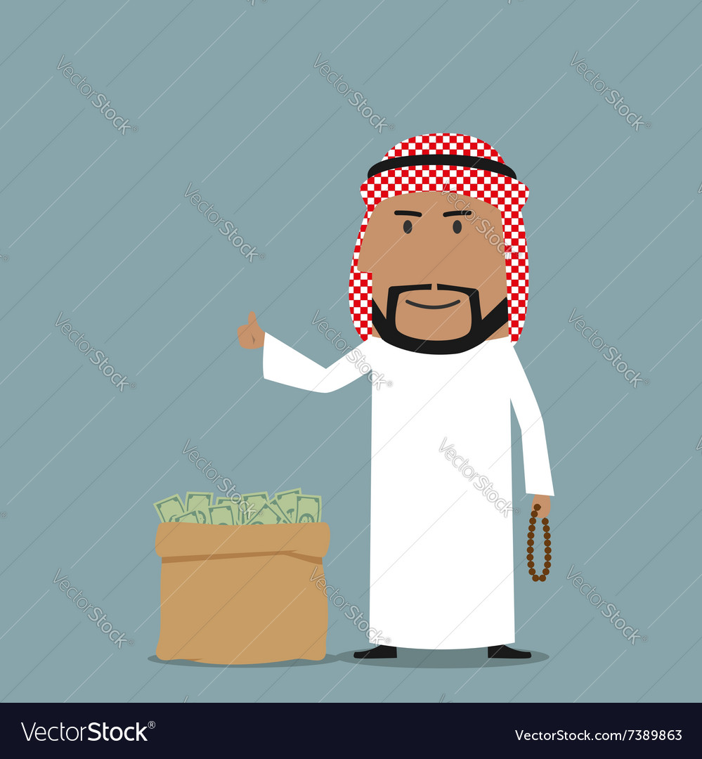Arabian businessman with full bag of money vector