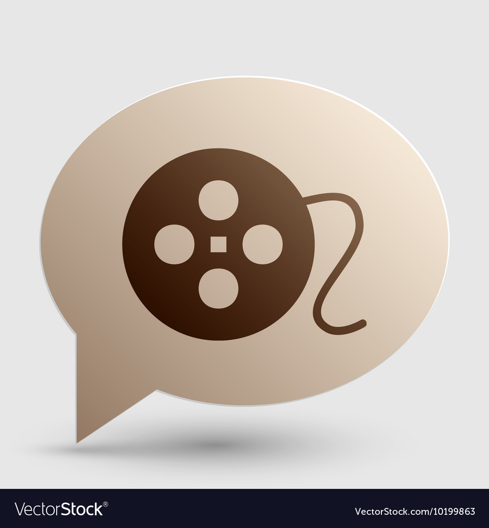 Film circular sign brown gradient icon on bubble vector